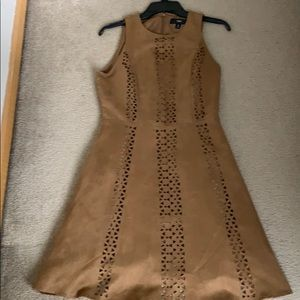 Tan fit and flare faux suede dress
